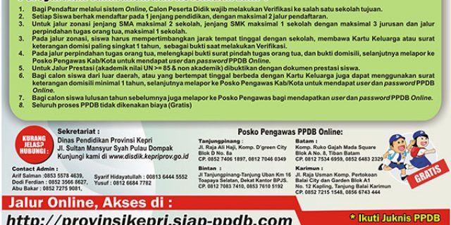 Ini Nomor Kontak Posko Pengawas PPDB Kepri