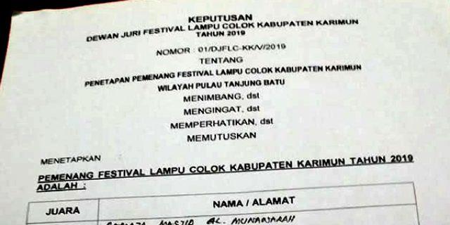 Ini Para Pemenang Festival Lampu Colok Pulau Tanjung Batu
