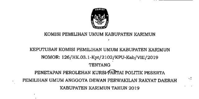 Ini Perolehan Kursi Partai Politik Anggota DPRD Karimun