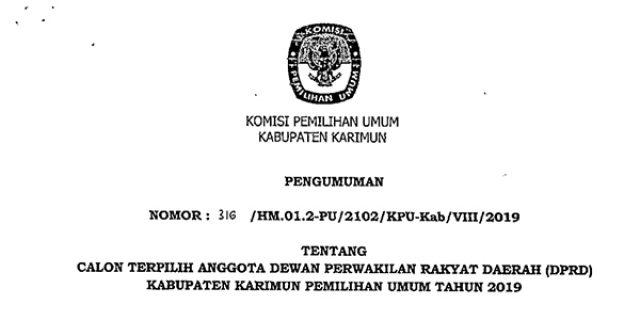 KPU Tetapkan Nama-Nama Anggota DPRD Karimun Pemilu 2019