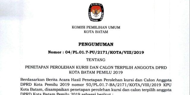 KPU Tetapkan 50 Calon Terpilih Anggota DPRD Batam