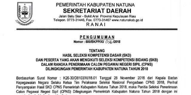 Pengumuman Hasil SKD dan Peserta Yang Mengikuti SKB CPNS Kabupaten Natuna