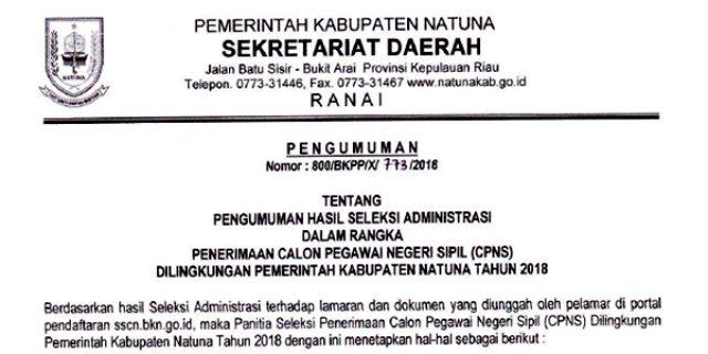 """Pengumuman Lulus Seleksi Administrasi Penerimaan """"CPNS PEMKAB NATUNA"""""""