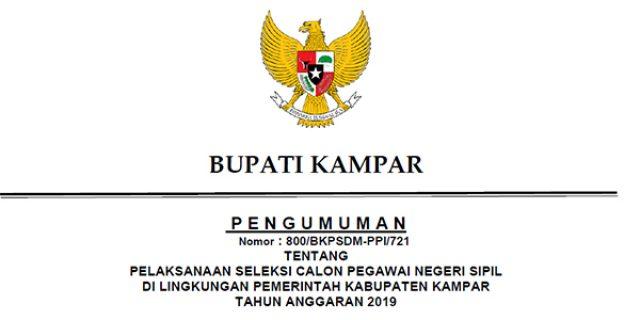 Info Penerimaan CPNS Pemkab Kampar Tahun 2019