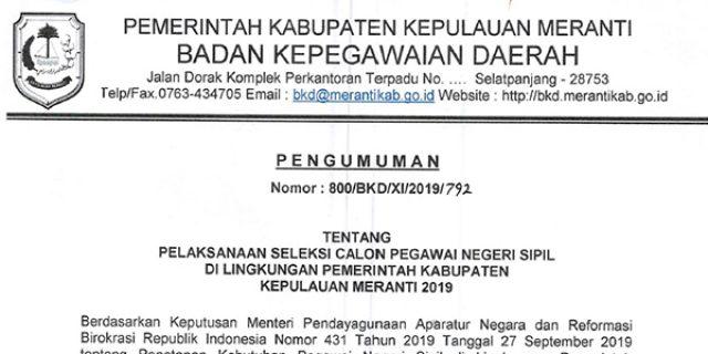 Info Penerimaan CPNS Pemkab Meranti Tahun 2019
