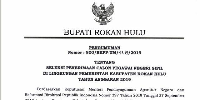 Info Penerimaan CPNS Pemkab Rokan Hulu Tahun 2019
