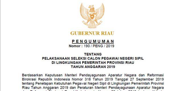 Pengumuman Seleksi CPNS Pemerintah Provinsi Riau 2019