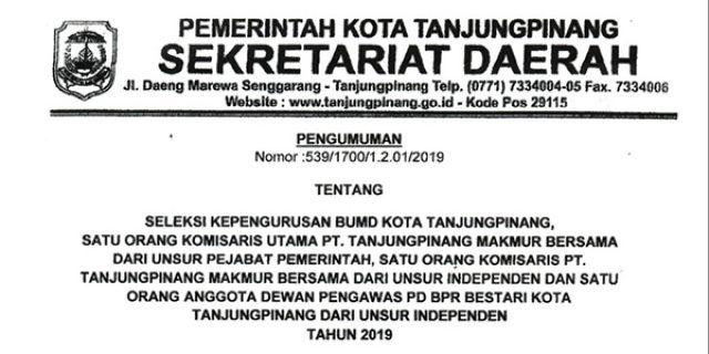 Pemko Tanjungpinang Buka Lowongan Formasi Dewan Komisaris PT TMB