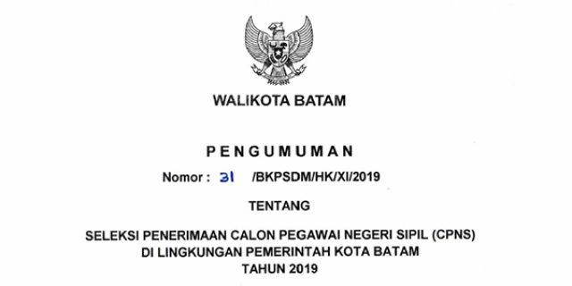 Informasi Penerimaan CPNS Pemko Batam Tahun 2019