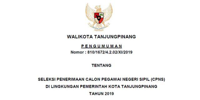 Informasi Penerimaan CPNS Pemko Tanjungpinang Tahun 2019