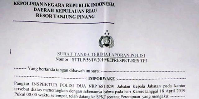 Surat Tanda Terima Laporan Polisi Tertanggal 18 April 2019