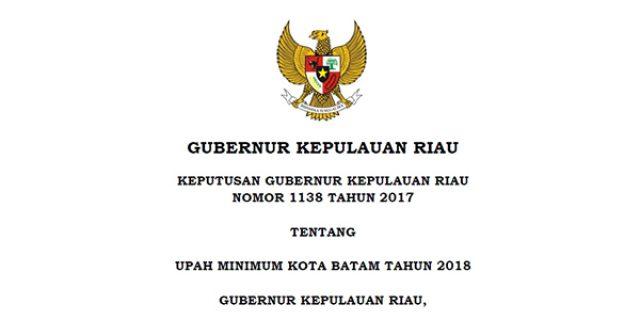 """""""INILAH UPAH MINIMUM"""" Kota Batam Tahun 2018"""