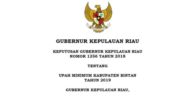 Inilah Upah Minimum Kabupaten (UMK) Bintan Tahun 2019