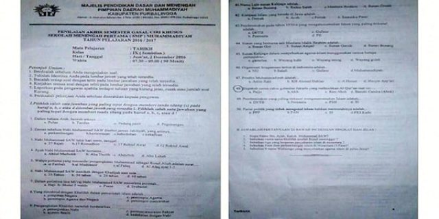"Soal ujian SMP Muhammadiyah ""ADA PERTANYAAN KASUS AHOK"""
